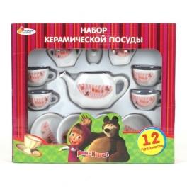 """Набор керамической посудки """"Маша и Медведь"""" - 12 предметов"""
