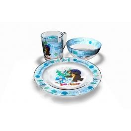 """Набор посуды из 3 предметов """"Маша и Медведь"""" - """"Зима"""""""
